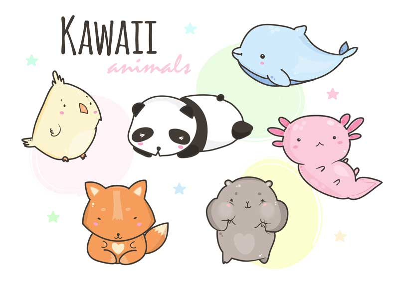 Animales Kawaii. Dibujos Kawaii De Animales Para Colorear