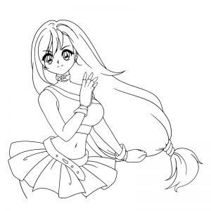 dibujo anime kawaii colorear