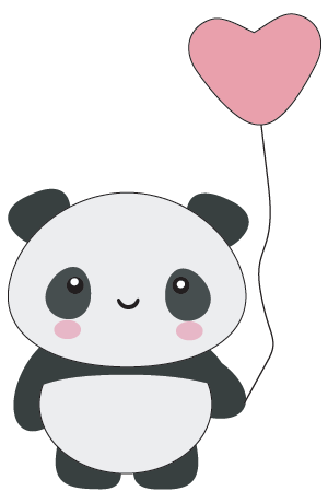 panda kawaii corazon