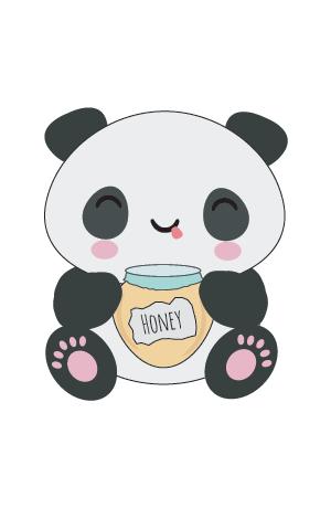 panda kawaii miel