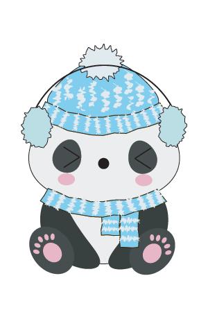 panda kawaii png invierno