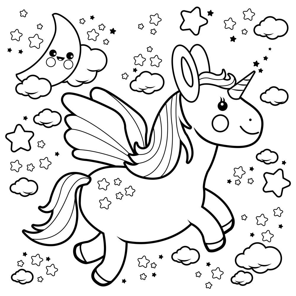 Moderno Páginas Para Colorear De Unicornios Y Arcoiris Ilustración ...
