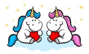 unicornios azul y rosa