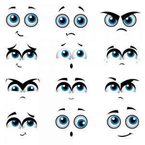 caritas kawaii ojos azules