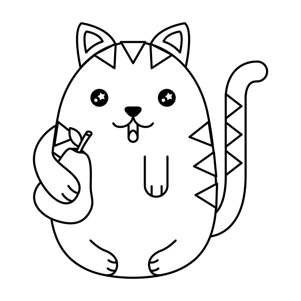 Encantador Gato En El Sombrero Para Colorear Gratis Patrón - Dibujos ...