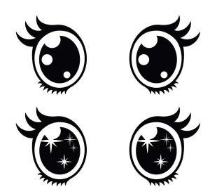 dibujos de ojos kawaii para colorear