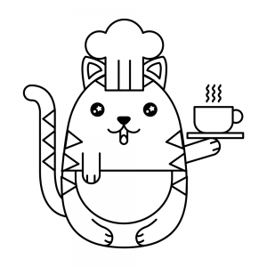 gatito kawaii colorear cafe