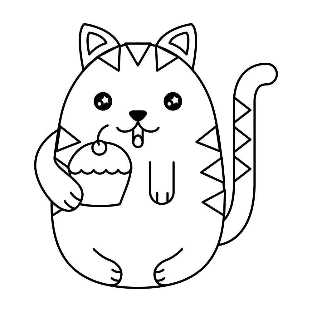 Gatos Kawaii. Imágenes de Gatitos Dibujos para Colorear y en PNG