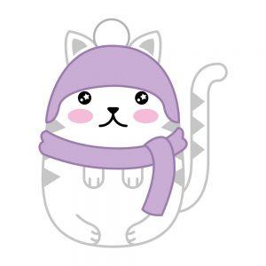 gato con bufanda kawaii