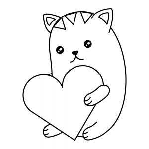 gato kawaii colorear corazon