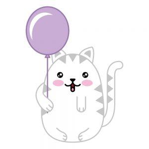 gato kawaii con Globo