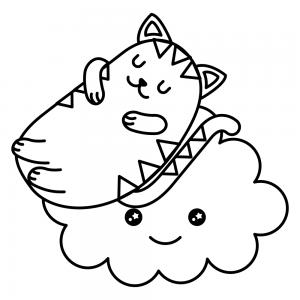 gato kawaii y nube