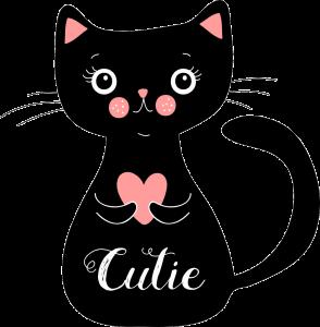 gato negro kawaii png