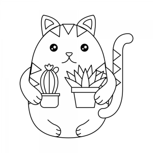 gatos kawaii para colorear