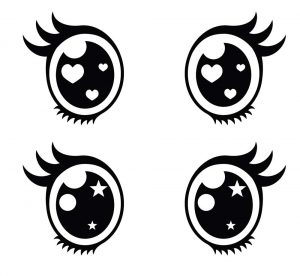 ojos kawaii para colorear