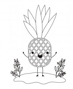 dibujo de piña kawaii para colorear