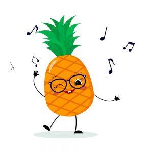 piña kawaii bailando